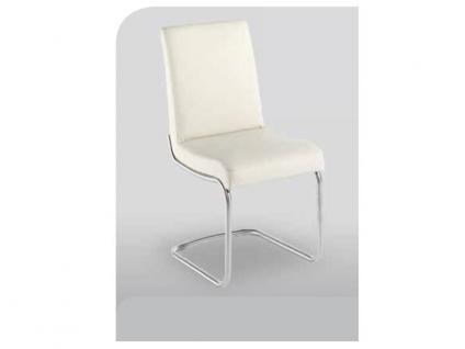 K+W Möbel 6010 Stuhl Freischwinger für Esszimmer mit Edelstahloptik gebürstet