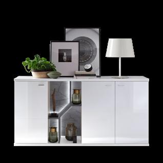Ideal-Möbel Taviano Sideboard Type 51 moderne Kommode für Ihr Wohnzimmer oder Essimmer mit drei Türen und Regal-Aufteilung mit integrierter LED Beluchtung Ausführung Weiß mit Hochglanzfronten und Absetzungen in Marmor Optik