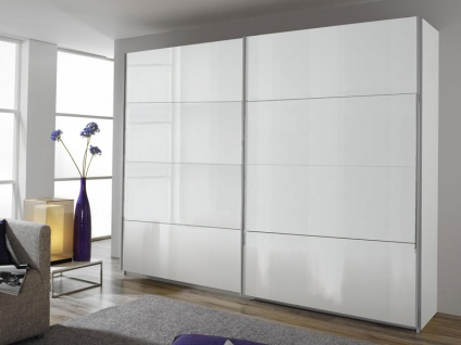 Rauch Packs Quadra Schwebetürenschrank Front in Hochglanz Weiß, Korpusfarbe und Größe wählbar Kleiderschrank für Schlafzimmer, Griffleisten alufarben