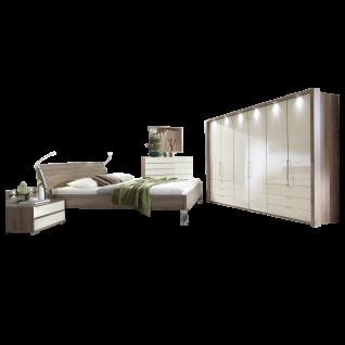Wiemann Loft Schlafzimmer Set 4-teilig Gleittüren-Panorama-Funktionsschrank Futonbett 2 Nachtkonsolen mit Paneel und Beleuchtung