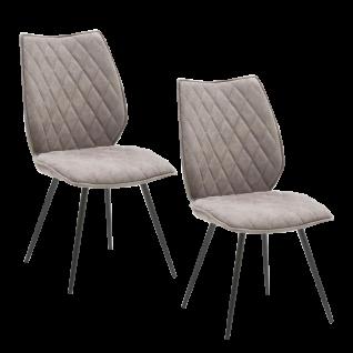 2er-Set MCA furniture Stuhl Navarra mit Bezug in Mikrofaser Antiklook Toronto sand und konisch zulaufenden Metallfüßen in anthrazit lackiert ideal für Ihr Esszimmer
