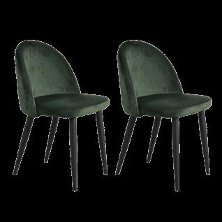 Sit Möbel SIT&CHAIRS Polsterstühle im 2er-Set no. 32 Bezug dunkelgrün Gestell Stahl schwarz