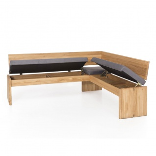 Standard Furniture Sitzbank Stockholm mit Truhe Gestell 1 Bezug SCARLETT in Nubukoptik grey Holzgestell Eiche natur - Vorschau 2
