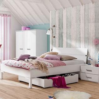 Röhr-Bush puzzle.plus Jugendzimmer 3-teilig in weiß bestehend aus Liegenbett mit Bettkonsole und Highboard Kleiderschrank 2 1/2-türig