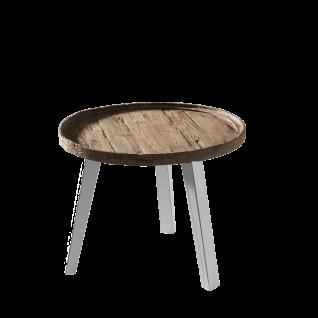 Sit Möbel ROMANTEAKA Couchtisch rund Tischplatte in Tablettform Teakholz Beine weiß