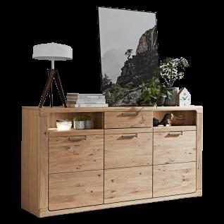 Ideal-Möbel Maderno Sideboard Type 33 mit Front aus Alteiche Lamelle Massivholz geölt Kommode mit Schubkasten Holztüren und offenen Fächern ideal für Ihr Wohnzimmer oder Esszimmer