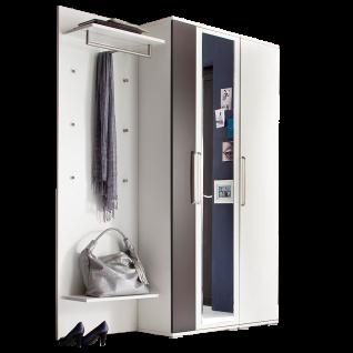 Wittenbreder Roubaix Vorschlagskombination Nr. 07 komplette Garderobe für Ihren Flur und Eingangsbereich 3-teiliges Garderoben-Set in Weiß matt und Lava matt mit Garderobenpaneel und zwei Hochschränken
