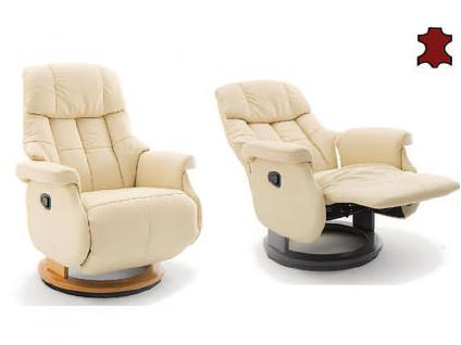 MCA furniture Calgary Relaxsessel L Comfort Bezug Echtleder creme Gestell und Drehteller aus Formholz Gestellfarbe wählbar