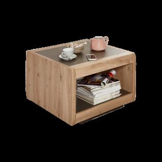 Ideal-Möbel Couchtisch Austin 70 mit zwei Fächern in Dekor Holzoptik Eiche und Taupe Grau Melamin