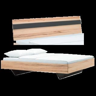 Dico Möbel Cloud System Massivholzbett mit Kopfteil in Wildeiche honig geölt mit Schwebe Optik Füßen Liegefläche wählbar optional mit Nachttisch