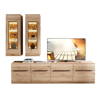 Stralsunder Breege Wohnkombination EB28501 bestehend aus zwei Lowboards und zwei Hängevitrinen Dekor Alteiche Nachbildung