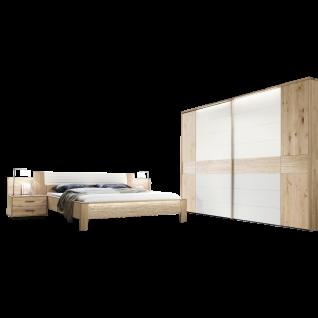 Thielemeyer Mira Schlafzimmer 2-teilig Korpus- und Frontausführung Wildeiche Massivholz Komfortbett mit Kunstleder-Bogenkopfteil in weiß Liegefläche wählbar mit 2-türigem Schwebetürenschrank mit Colorglas in weiß mittig optional mit Konsolen mit Aufsatzpa