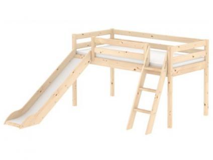 Kinderbett Flexa Classic halbhohes Bett 90x200 cm mit Rutsche neuer Schrägleiter und integrierten Griffen Kiefer massiv Flexa4Dreams