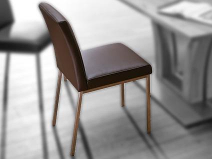 Schösswender Stuhl P610 mit gepolstertem Sitz und gepolsterter Lehne Polsterstuhl ohne Armlehnen mit Gestell in Edelstahl gebürstet und mit wählbarem Bezug passend zu Programmen Masala Moringa und Rialto
