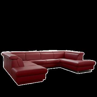 Himolla Sofa Tangram Motion 9701 in U-Form mit manuell verstellbaren Kopfstützen und aufklappbaren Hockerabschluss links roter Longlife-Soft-Lederbezug 22 Farbton Chili Rücken unecht