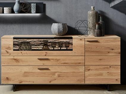 Hartmann Runa Sideboard 4191 aus Massivholz Kerneiche natur gebürstet mit Applikation Rinde Kommode für Wohnzimmer oder Esszimmer Beleuchtung wählbar