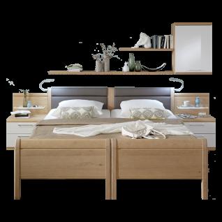 Disselkamp Comfort Twin 2 Einzelbetten ohne Besucherritze Polsterkopfteil Kunstleder Elephant Farbausführung Nachtkonsolen und Größe wählbar