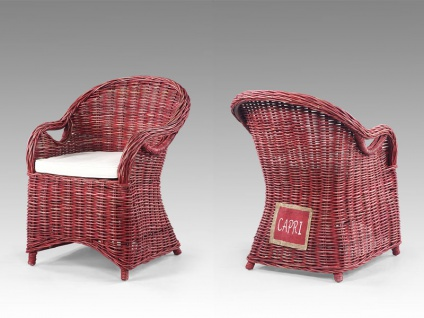 Die Faktorei by Infantil Natur-Rattan Sessel CAPRI burgundrot im Shabby Chic, inklusive Sitzkissen