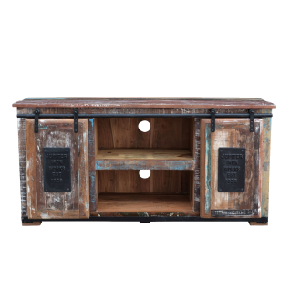 Sit Möbel JUPITER Lowboard bunt/ natur aus recycelten Altholz mit Metall