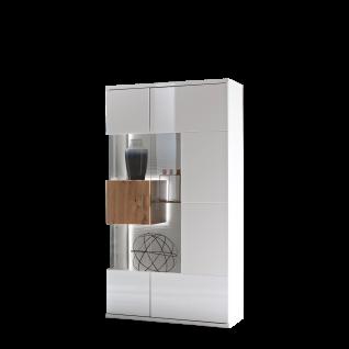 Ideal-Möbel Canberra Vitrine Type 04 für Ihr Wohnzimmer oder Esszimmer moderne Standvitrine mit zwei Glastüren mit Korpus in Weiß mit Hochglanzfronten mit Absetzung in Artisan Eiche