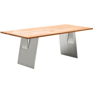 Wimmer Zweigl Wangenesstisch Z20 mit Stahlwangen massiv geölt Tischplattenausführung Größe Kantenprofiltyp Ansteckplatte und Ansteckplattentyp wählbar Tisch für Ihre Küche oder Ihr Esszimmer