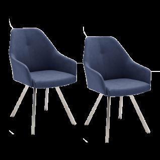 2x MCA furniture Madita Stuhl Ausführung B mit 4-Fuß-Gestell und Armlehnen, Kunstlederbezug Argentina, Farbe wählbar