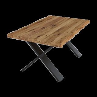 ELFO Couchtisch 2581 Ellary mit X-Fuß Metallgestell und massiver Tischplatte aus Eiche geölt für Ihr Wohnzimmer