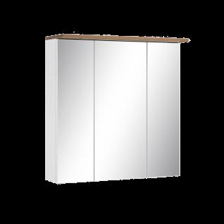 W. Schildmeyer Badmöbel Capri Spiegelschrank SPS700.1 kreideweiß mit 3 Spiegeltüren 6 Einlegeböden aus Glas 1 Schalter 1Steckdosse Oberboden eichefarben Nachbildung mit LED Beleuchtung