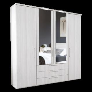 Nolte Möbel Horizont 4500 Drehtürenschrank 4-türig mit 3 Schubkästen und 2 Türen mit Facettenspiegel mittig Stangengriffe in alu--matt Farbausführung wählbar optional mit Dämpfung unbd LED-Beleuchtung der Mitteltüren