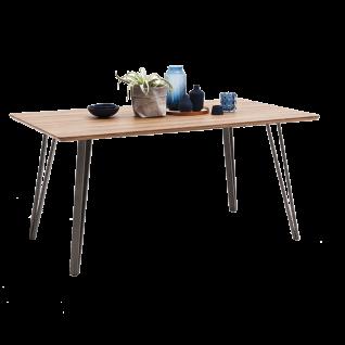 MCA furniture Esstisch Cordoba Tischplatte in Wildeiche Nachbildung 4-Fuß Gestell Roheisen lackiert