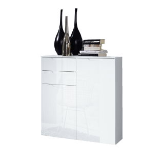Forte Sienna Kommode SNNK421 mit zwei Türen und zwei Schubkästen Korpusfarbe Weiß Front Weiß Hochglanz Dekor Sideboard für Ihr Wohnzimmer Esszimmer