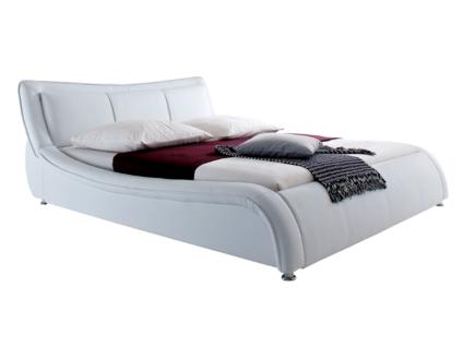 Meise Möbel SOMA Polstermöbel mit Kunstlederbezug in weiß oder schwarz mit 3 gepolsterten Kissen im Kopfteil und Metallfüßen
