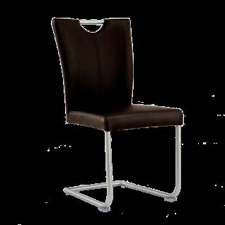 Niehoff Schwingstuhl mit Griff 8561 Top Trends Bezug Echtleder braun Gestell aus Edelstahl Freischwinger für Esszimmer und Küche