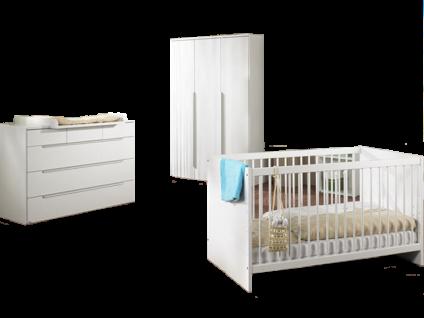 Paidi Fabiana Babyzimmer bestehend aus Kleiderschrank 3T Wickelkommode mit 3 kleinen Schubkästen und 3 großen Schubkästen sowie einem Kinderbett 70x140 cm in Glanzweiß weitere Beimöbel optional wählbar