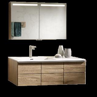 Voglauer V-Montana Badezimmer-Einrichtung Vorschlagskombination 24 Korpus und Abdeckplatten Tischlerplatte echtholzfurniert Front Massivholz inklusive Beleuchtung