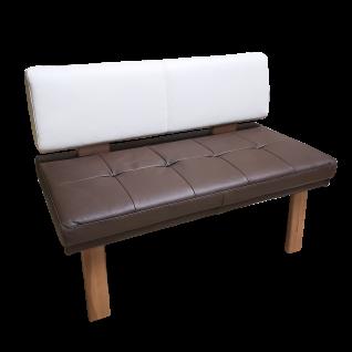 K+W Solobank 4191 Game I zweifarbig im Echtledermix braun - weiß bezogen mit beliebter Mattensteppung auf natürlichen Füßen in Kernbuche lackiert