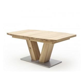 MCA Furniture Esstisch Managua B Ausziehtisch mit V Fuß und bootsförmige Tischplatte aus Massivholz Fußplatte Silber