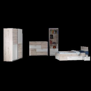 Forte Jugendzimmer-Kombination 4-teilig in Sandeiche Dekor kombiniert mit Weiß Set mit Bettanlage Liegefläche ca. 140x200cm Kommode Regal und Kleiderschrank