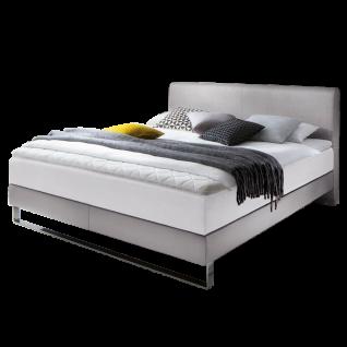 Meise Möbel Boxspringbett Lara mit Kunstleder- und Stoffbezug Porto kombiniert Ausführung und Liegefläche wählbar mit 7-Zonen-Tonnentaschenfederkern-Matratze mit weißem Klima-Drellbezug Variante wählbar optional mit Topper