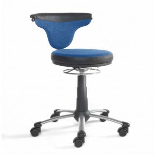 Mayer Sitzmöbel Funktionsdrehstuhl myTorro 1251-332 Bezug zweifarbig blau/ schwarz 360 Grad drehbar Gestell perlsilber