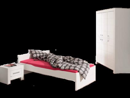 Paidi Fiona Jugendzimmer bestehend aus Liege 90x200 cm und Kleiderschrank 3T in Kreideweiß Nachtkommode und Wandregal optional wählbar