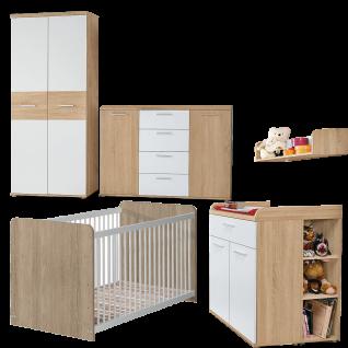 Forte Winnie Babyzimmer 7-teilig Gitterbett Kleiderschrank Kommode Wandregal Kommode mit Wickelauflage und Nischenregal
