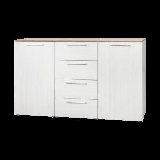 Nolte Möbel Alegro2 Basic Kombikommode mit 4 Schubkästen und 2 Türen Korpus und Front in Sibiu-Lärche-Nachbildung mit Oberplatte in Sonoma-Eiche-Nachbildung und Stangengriff in in alu-matt