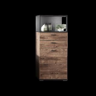 Ideal-Möbel Bacoor Vitrine 01 mit einer Tür zwei Schubkästen und einem Fach Dekor Eiche Ribbeck Cognac und Cosmos Grey Melamin mit Stahlprofilen