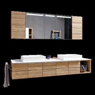 Voglauer V-Montana 5-teilige Badezimmerkombination Korpus und Abdeckplatten Tischlerplatte echtholzfurniert Front Massivholz inklusive Beleuchtung