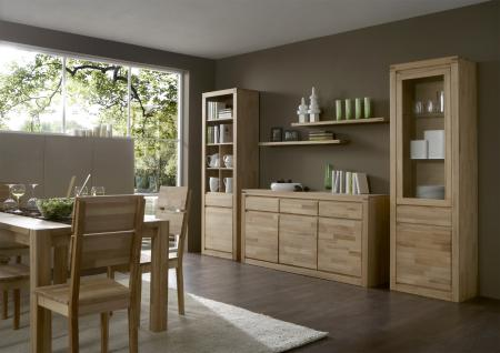 Elfo-Möbel Delft Vitrine 6203 mit 1 Schubkasten 1 Tür und 1 Glastür Massivholz in Kernbuche Beimöbel für Wohnzimmer Esszimmer oder Arbeitszimmer - Vorschau 3