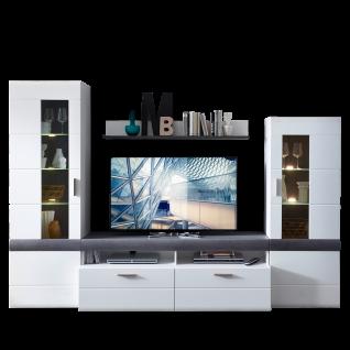 Wohn-Concept Paris Wohnwand 40 58 WT 81 moderne fünfteilige Wohnkombination mit Vitrinen Lowboard TV-Aufsatz und Wandboard Wohnlösung in Weiß matt Perfect Touch und Betonoxid dunkel Nachbildung inkl. LED-Beleuchtung