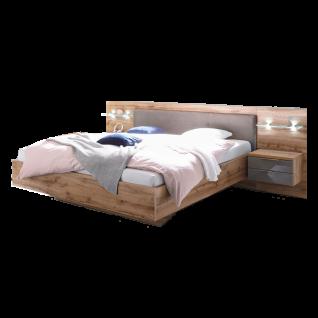 Schlafkontor Milano Bettanlage bestehend aus einem Bett inkl. Nachtkommoden mit Paneel und LED Beleuchtung