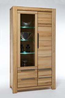 Elfo-Möbel Nena Vitrine 6659 Kernbuche Massivholz geölt Glasschrank mit 1 Holztür, 1 Tür mit Glaseinsatz und 4 Schubkästen, 3 Glaseinlegeböden stilvoller Stauraum für Wohnzimmer oder Esszimmer