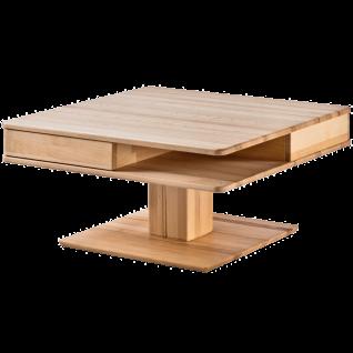 Woodlive Couchtisch Quadro Kernbuche Massivholz geölt Art.Nr. 51011000 Tischplatte quadratisch inkl. 2 Schubkästen Beistelltisch für Ihr Wohnzimmer